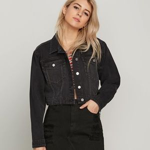 Volcom Crop N Block Black Jean Jacket